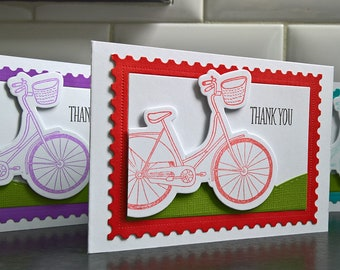 Bicycle Thank You Cards Set of 3, Bike Cards Set, Spring Thank You Notes, Gift for Bicyclist, Bicycle Stationery Set, Gift for Biker