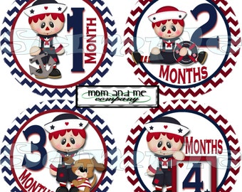 12 Monthly Baby Stickers Baby Month Stickers Baby Milestone Stickers Nautical Baby Shower Gift Baby Boy Onepiece Stickers sailor set