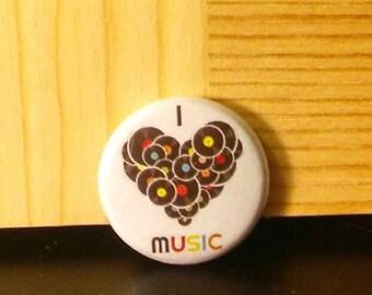 I LOVE Music pin, I Heart Music button, Dat Jam Clothing