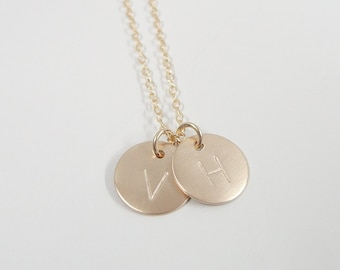 "Gold Filled Initial Necklace - 1/2"" Initial Discs - Personalized Custom Jewelry - Hand stamped Initial Necklace - Double Initial"