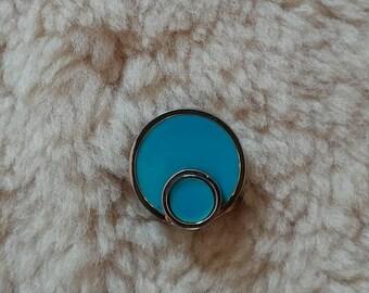 vintage 80s geometric adjustable blueish ring