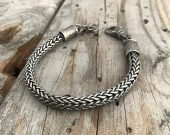 Sterling Silver Woven Bracelet Wild Prairie Silver Jewelry Handmade Sterling Silver Bracelet