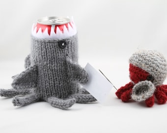Sharktopus, Geeky, Shark Week, Gift for Teacher, Gift for Student, Friends, Gift for Boyfriend, Beer Cozy, Sport Drink, Knitted,Father's Day