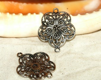 Print 25 mm Tibetan Silver Flower filigree connector