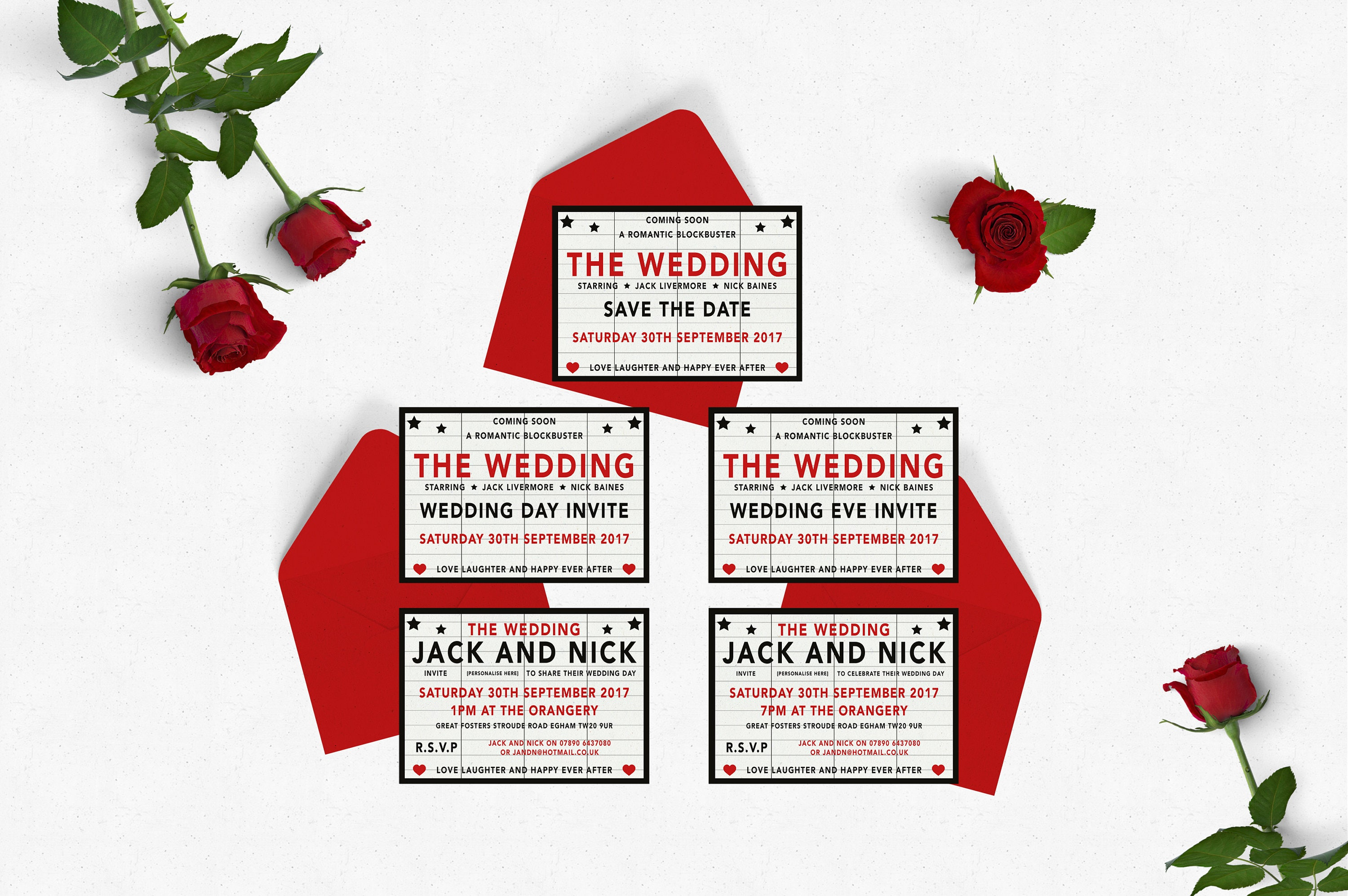 Movie Wedding Table Plan Table Cards and Place Cards