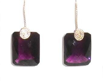 Natural 32cts Emerald cut Purple Amethyst gemstones, 14kt yellow gold Pierced Earrings
