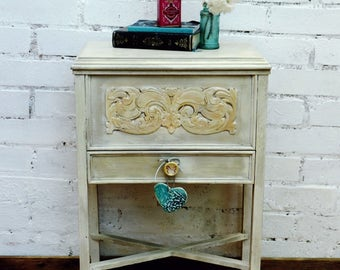 Little vintage,  wooden upcycled, grey/cream sewing chest/cabinet, craft storage with drawer and pretty lilac inside