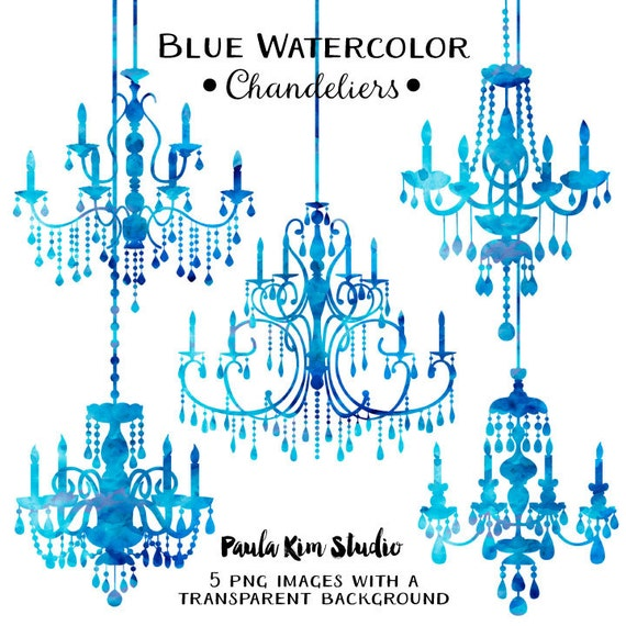 Blue chandelier watercolor clipart silhouettes chandelier clip art blue chandelier watercolor clipart silhouettes chandelier clip art wedding invitation clipart commercial use from paulakimstudio on etsy studio aloadofball Images