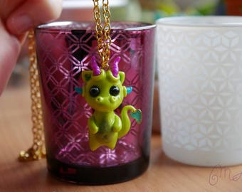 Necklace little green dragon polymer clay
