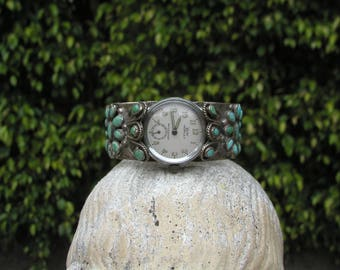 1940s Zuni Watchband Hallmarked BEAUTIFUL CLUSTER WORK