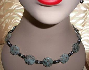 Dalmatian Jasper Gemstone Necklace & Earring Set, Swarovski Back Pearls, Rhinestone Roundels, Beaded Necklace, by Brendas Beading on Etsy