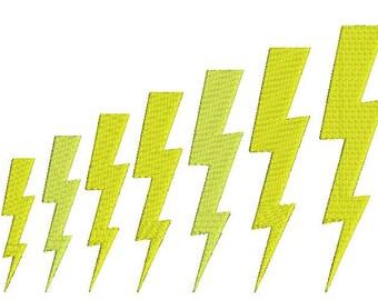 Lignning Bolt Embroidery Design, Lightning Bolt Machine Embroidery Design, Storm Designs, Lightning Designs, Lightning Bolts, 10 Sizes