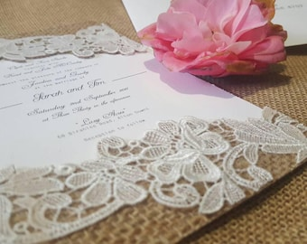 Country charm | burlap and lace luxe wedding invitations