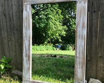 Mirror, Light Whitewash Wood, Wood Frame Mirror, Wall Mirror, Rustic Wood Mirror, Bathroom Mirror, Vanity Mirror, Large Mirror, Small Mirror
