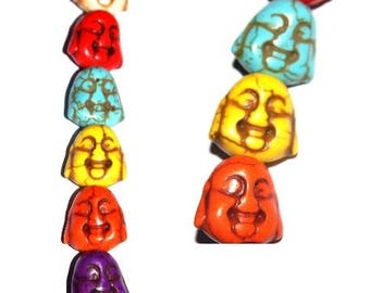 Set of 5 bead head and face of Buddha howlite 10X10mm