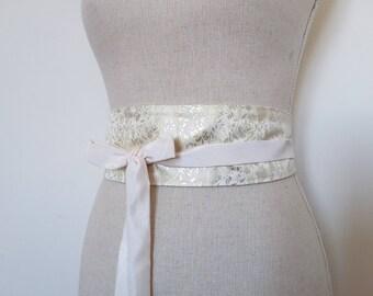 Ivory and gold embroided silk OBI sash belt reversible silk and taffeta, silk, Japanese, belt women belt waist cincher