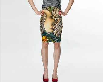 Swan Fitted  Skirt