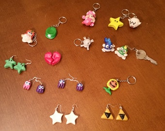 Handmade Nerdy Key chains and earrings and pendants