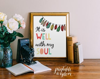 Bible Verse Art print, printable Scripture wall art decor, bunting INSTANT DOWNLOAD nursery bible verse - It is well with my soul
