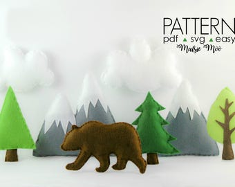 Mountain Baby Mobile  Adventure Mountain Nursery Mobile Pattern  Felt Baby Mobile Pattern  Grizzly Bear Nursery Mobile  Bear Mountain SVG