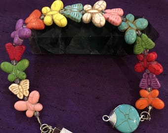 Howlite, Butterfly Beaded Dowser / Pendulum - Handcrafted - Calm, Communication, Transformation / Change