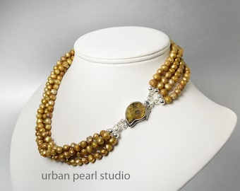Multi Strand Pearl Necklace, Gold Pearl Necklace, Ammonite Fossil Nautilus Shell Clasp, Bronze Pearl Fossil Necklace