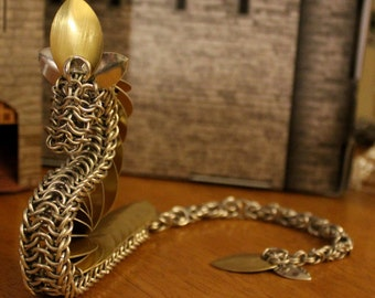 Silver and Gold Chainmail Dragon