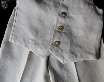 Ring Bearer Outfit in European Linen; Vest, and Pants handmade by TwoLCreations