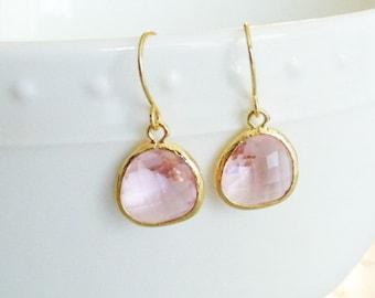 Pink earrings Pink glass earrings Pink dangle earrings Pink drop earrings Blush earrings Bridesmaid earrings Bridal earrings Wedding jewelry