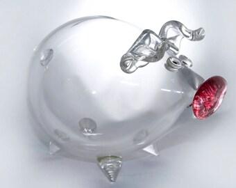 Blown Glass Pig Money Bank