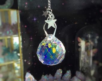 Large Crystal Disco Ball Sun catcher, 45mm Rainbow maker Prism, Crystal AB finish