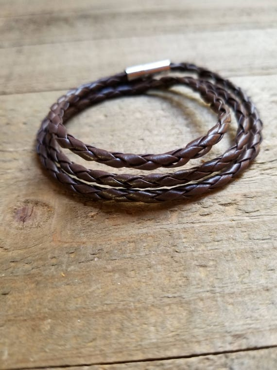Dark Brown Leather Braided Wrap Bracelet Native American Style Fashion