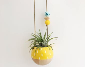Mini Hand-painted Hanging Planter // Yellow