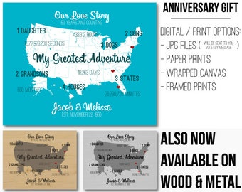 50 Year Anniversary Gift Custom Anniversary Decor Canvas Artwork Map Art Gifts for Anniversary Meaningful Gift Wedding Anniversary Present