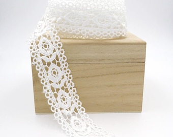 2 yards Lace Flower Ribbon. Lace Trim. Embroidery Lace. Bridal. Wedding. Gift Wrap. Sash. Hat Making