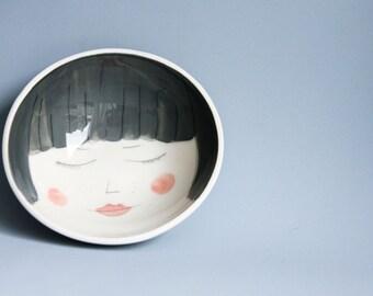 medium bowl, illustrated ceramics, breakfast tableware set, bowls and plates, gift for teen girl, bowl and plate set, face bowl, karoArt