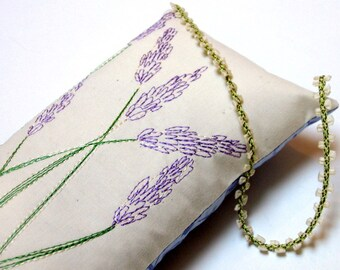 Large Embroidered Lavender Pillow with Ribbon Hanger with Lavender Buds Embroidery