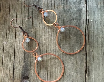 Copper Double Hoop Earrings with Blue Crystals