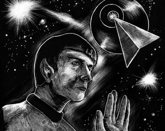 Mr. Spock  black and white art print