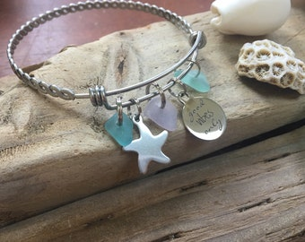 Aqua/purple/aqua seaglass, starfish /good vibes only bangle