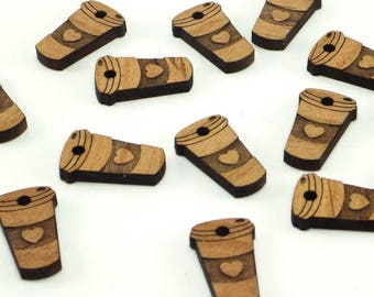 Coffee cup charms with heart, Beverage tags, wood tags
