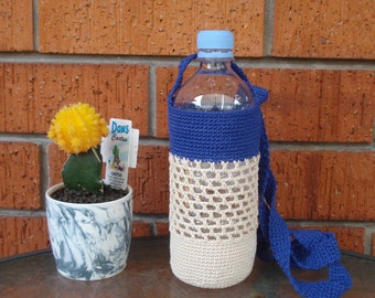 Water Bottle Holder (up to 800 ml bottle), Festival Drink holder, Water Bottle Carrier, PET Bottle Bag, Eco friendly Gift, Mothers Day Gift