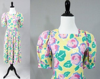 80s Laura Ashley Dress - Yellow Blue Pink Green Floral Print Cotton - Puff Sleeves - Full Skirt - Easter Colors - Vintage 1980s - S US 8