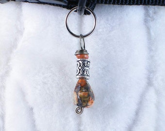 The Exotic Unknown - Dog collar charm or people pendant, wire wrapped purse pull jewelry pet zipper accessory