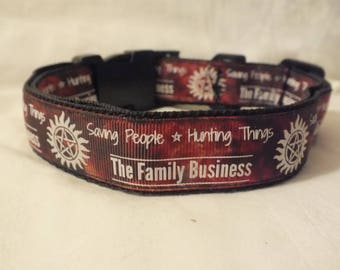 Supernatural glow in the dark pet collar with 'Saving people, hunting things'  10.5 - 16.5 inches
