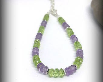 Faceted Peridot and Amethyst Sterling Silver Bracelet