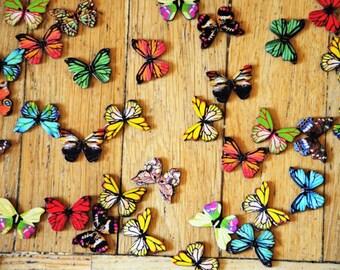 Wood Butterfly Buttons,  Wooden Butterflies Button, Sewing Crafting Butterflies,2 Holes Mixed buttons, Sewing Scrapbooking DIY Craft
