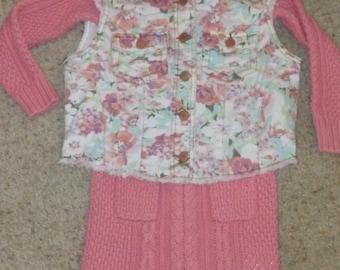 Cable Knit Dress and Vest Ensemble - Size 5