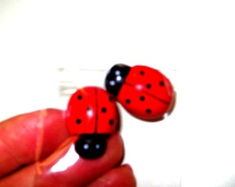 25 or more LARGE lady Bugs cabochon wood accents for hair bows furniture picture frames