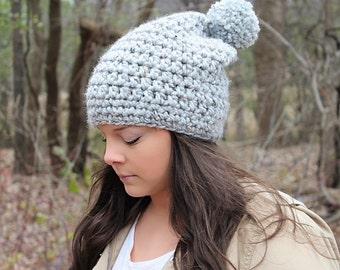 Pom Pom Hat, Slouchy Hat, Slouchy Beanie, Grey Beanie, Grey Slouchy Hat, Grey Crochet Beanie, Crochet Hat,Winter Hat, Women's Hat,THE HUDSON
